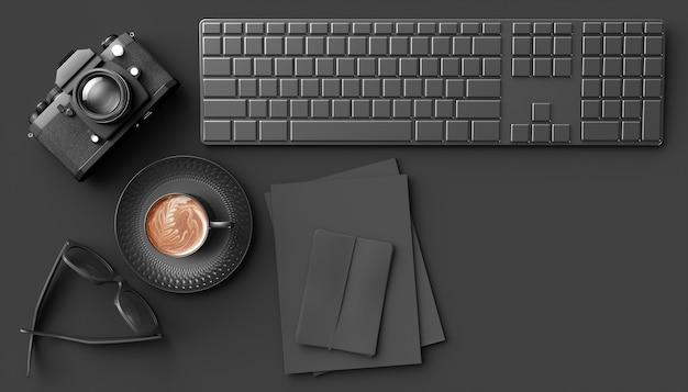 Filiżanka kawy obok aparatu, klawiatury i okularów na czarnym tle, ilustracja 3d