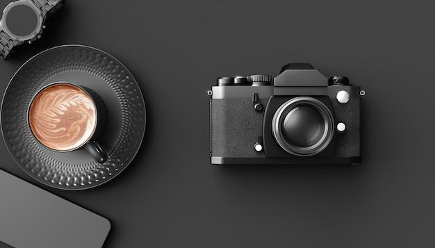 Filiżanka kawy obok aparatu na czarnym tle, ilustracja 3d