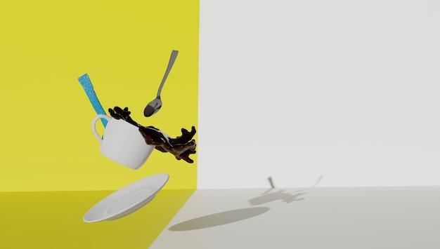 Filiżanka kawy przelewająca się jesienią z powodu efektu grawitacji