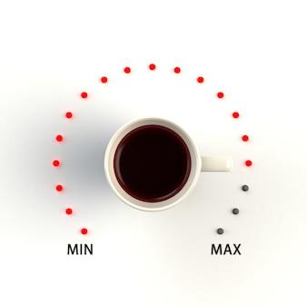 Filiżanka kawy w formie regulacji głośności