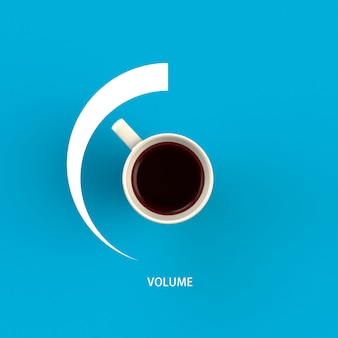 Filiżanka Kawy W Formie Regulacji Głośności Premium Zdjęcia