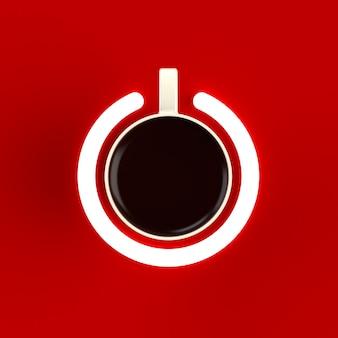 Filiżanka kawy w formie włącznika zasilania na czerwono