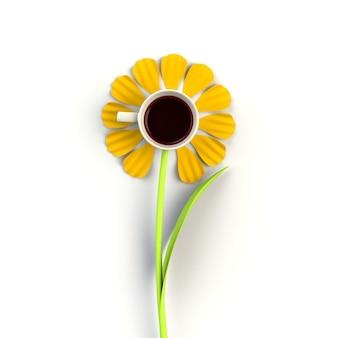 Filiżanka kawy w postaci kwiatu na bielu