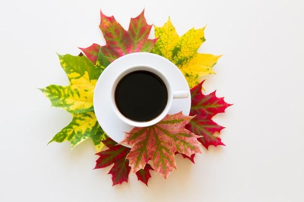 Filiżanka kawy w ramce z jesiennych liści