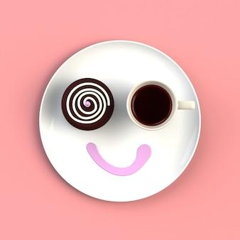 Filiżanka kawy z ciastem w postaci uśmiechu