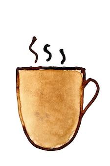 Filiżanka kawy z parą naszkicowana w kawie