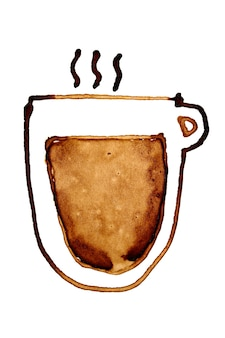 Filiżanka kawy z parą naszkicowanych w kawie na białym tle na białym tle. ilustracja rastrowa