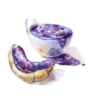 Filiżanka kosmicznej kawy i rogalika z kosmicznym kremem