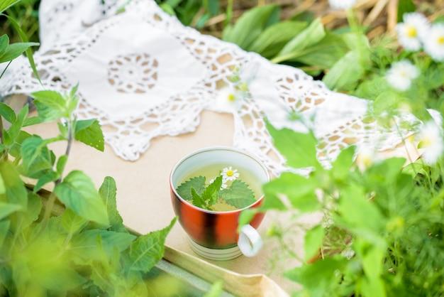 Filiżanka zielonej herbaty z listkiem mięty, kwiatami, w ogrodzie.