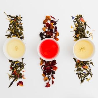 Filiżanki herbaty z widokiem z góry