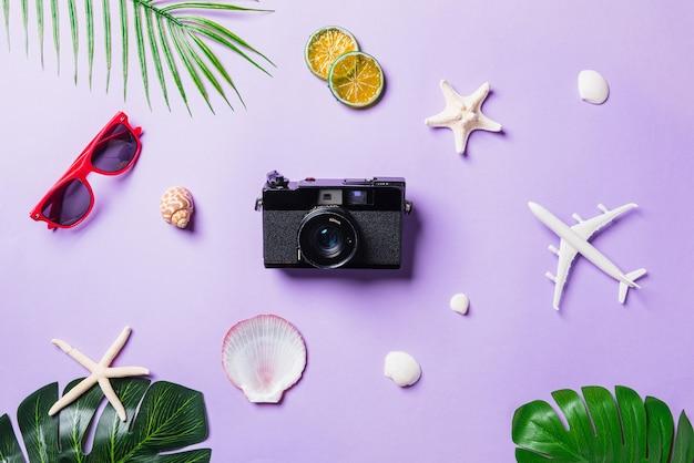Filmy z aparatem, samolot, okulary przeciwsłoneczne, liście, akcesoria podróżne na plaży rozgwiazda