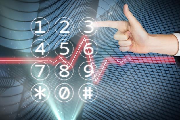 Finger dotykania klawiatury numerycznej