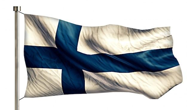 Finlandia flaga narodowa pojedyncze 3d białe tło