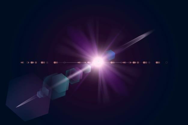 Fioletowa flara obiektywu z elementem projektu efektu ducha sześciokąta