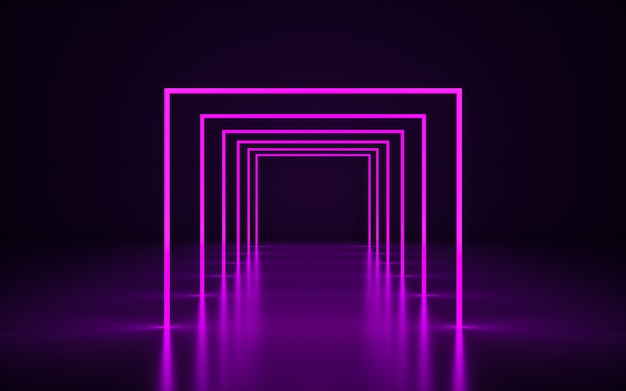 Fioletowa neonowa ramka. grafika trójwymiarowa fioletowy geometryczne z odbiciem podłogi