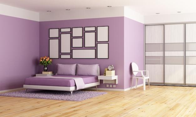 Fioletowa nowoczesna sypialnia