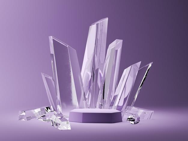 Fioletowa podstawa i kryształowe patyczki na fioletowej scenie. streszczenie tło dla akcesoriów lub biżuterii. renderowanie 3d