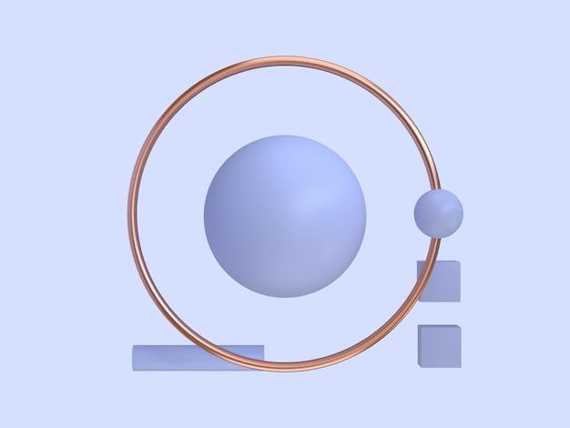 Fioletowe, fioletowe tło renderowania 3d miedź rama geometryczny abstrakcyjny kształt minimalny streszczenie