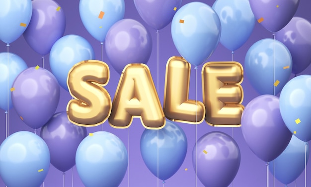 Fioletowe i niebieskie balony ze złotymi balonami w postaci słowa sprzedaż. renderowanie 3d