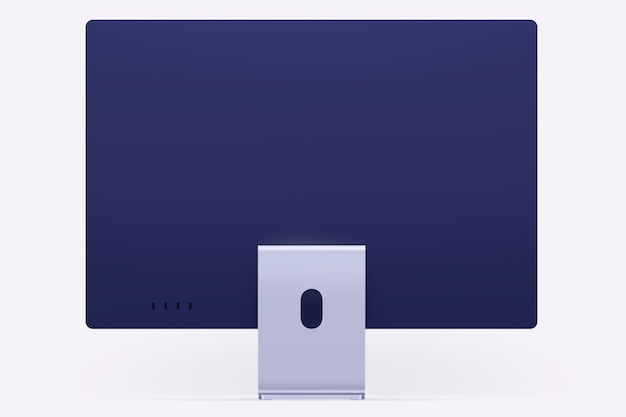 Fioletowe minimalne urządzenie cyfrowe na komputer stacjonarny z przestrzenią projektową