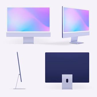 Fioletowe minimalne urządzenie cyfrowe na komputer stacjonarny z zestawem przestrzeni projektowej