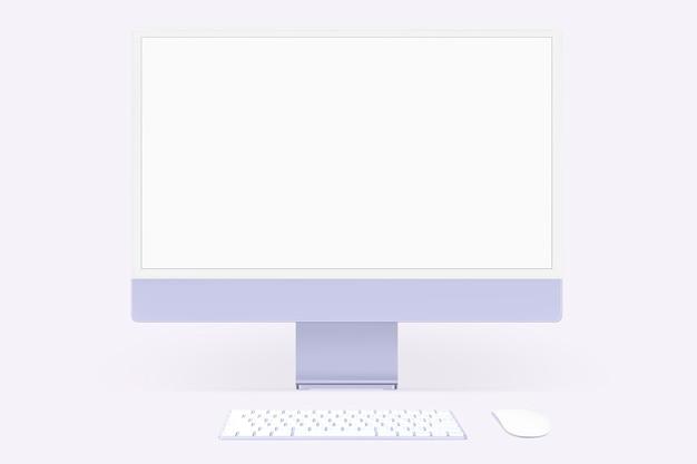 Fioletowe minimalne urządzenie cyfrowe z ekranem komputera stacjonarnego z przestrzenią projektową
