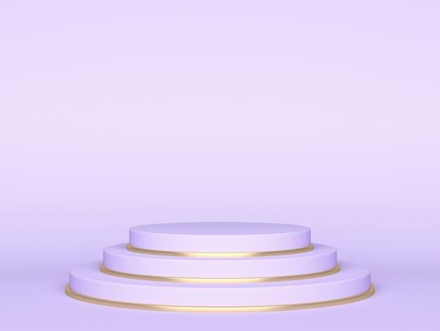 Fioletowe pastelowe podium lub cokół do prezentacji produktów. renderowanie 3d