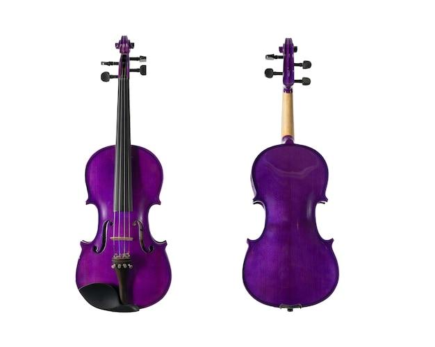 Fioletowe skrzypce drewniane na białym tle