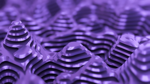 Fioletowe tło metalowe z liniami. ilustracja, renderowanie 3d.