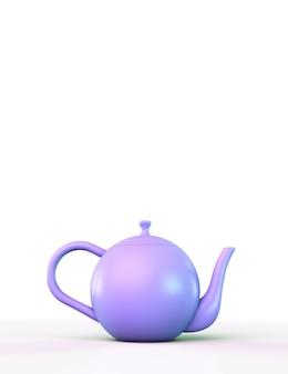 Fioletowy czajniczek na jasnym tle. z copyspace