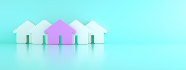 Fioletowy Dom Wśród Białych Domów, Koncepcja Polowania I Wyszukiwania, Renderowanie 3d, Obraz Panoramiczny Premium Zdjęcia