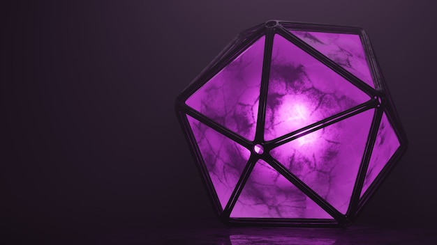 Fioletowy fiolet emisja dwunastościanów wolumetryczne światło model 3d tapeta w tle