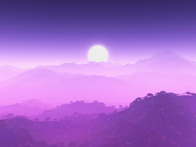 Fioletowy górski krajobraz
