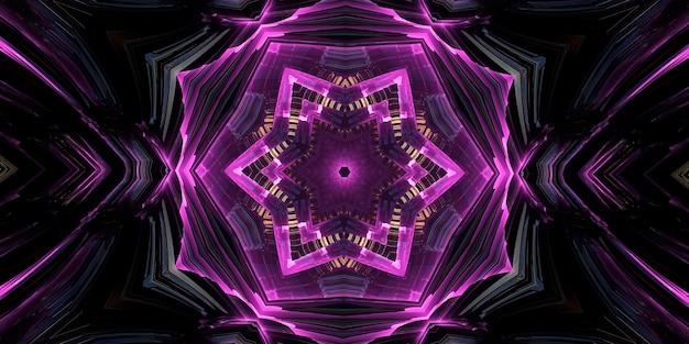 Fioletowy magiczny kalejdoskop. urządzenie wszechświata, sierp księżyca i słońca z twarzą na czarnym tle. magiczny kalejdoskop