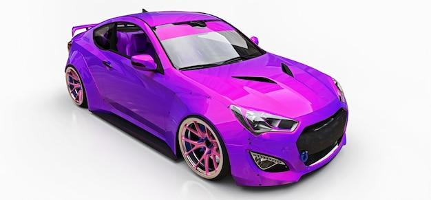 Fioletowy mały samochód sportowy coupe. zaawansowany tuning wyścigowy ze specjalnymi częściami i przedłużeniami kół. renderowania 3d.