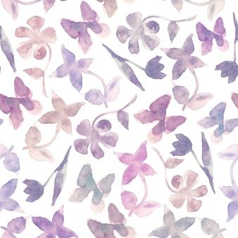 Fioletowy moda kwiatowy streszczenie tło. jednolity wzór lasu z streszczenie niewyraźne kwiaty i motyle. kolor beżowy, różowy, fioletowy, liliowy i turkusowy. ilustracja akwarela.