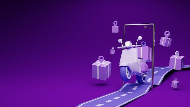Fioletowy motocykl i pudełko z pinem na drodze. koncepcja dostawy.