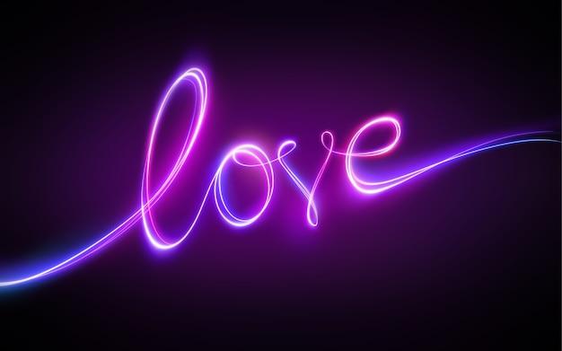 Fioletowy neonowy napis miłosny