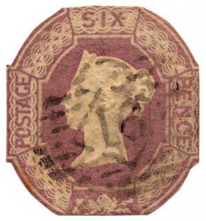 Fioletowy tłoczone queen victoria znaczek