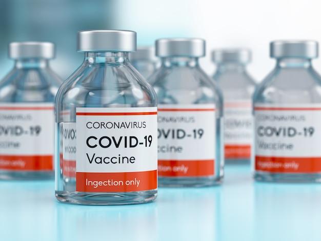 Fiolka z medycznym szczepionką z koronawirusem covid-19 w laboratorium badawczym. ilustracja 3d