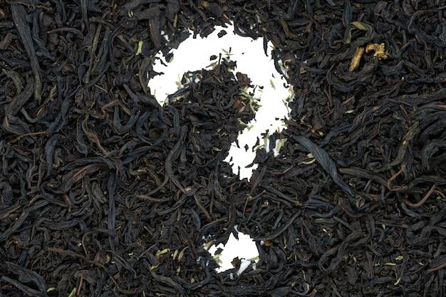 Fireweed herbata z tymiankowym ziele, znaka zapytania kształt, zakończenie up, odizolowywająca.