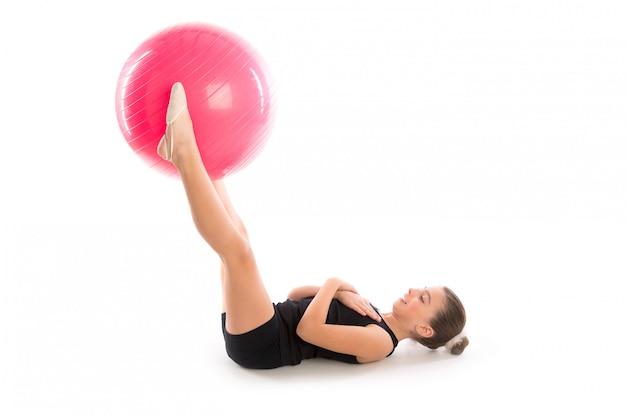 Fitness fitball swiss ball kid girl exercise exercise