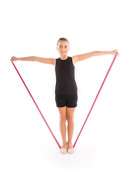 Fitness gumowy zespół oporowy dziecko dziewczynka ćwiczenia