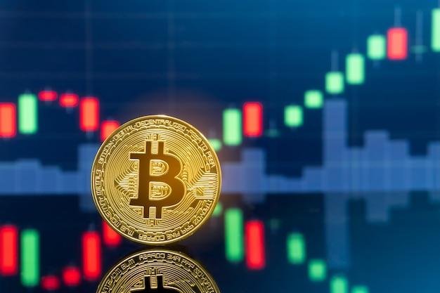 Fizyczne metalowe monety bitcoin z wykresem cen rynkowych globalnej giełdy w tle.
