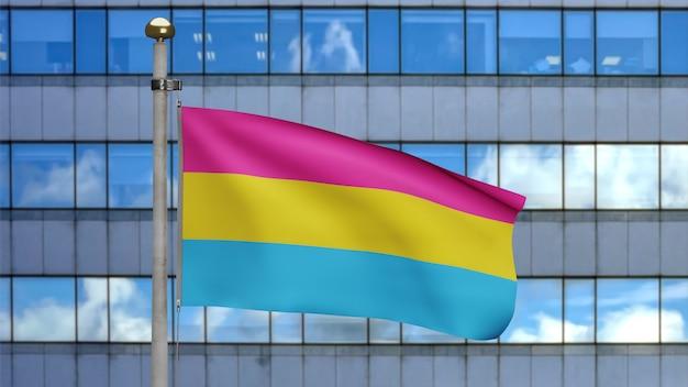 Flaga 3d pansexuality macha na wietrze w nowoczesnym mieście. zbliżenie na baner pansexual dmuchanie, miękki i gładki jedwab. tkanina tkanina tekstura tło chorąży. użyj go do dumy gejowskiej koncepcji dnia i wydarzeń.