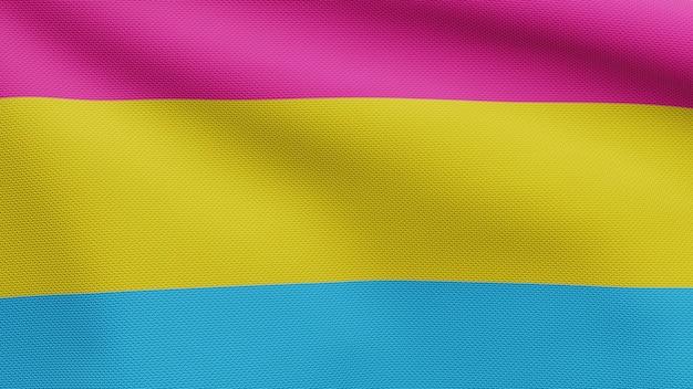 Flaga 3d pansexuality macha na wietrze. zbliżenie na baner pansexual dmuchanie, miękki i gładki jedwab. tkanina tkanina tekstura tło chorąży. użyj go do dumy gejowskiej koncepcji dnia i wydarzeń.