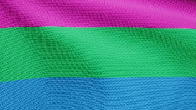 Flaga 3d poliseksualności powiewa na wietrze. zamknij się z poliseksualnym banerem dmuchanie, miękki i gładki jedwab. tkanina tkanina tekstura tło chorąży. użyj go do dumy gejowskiej koncepcji dnia i wydarzeń.