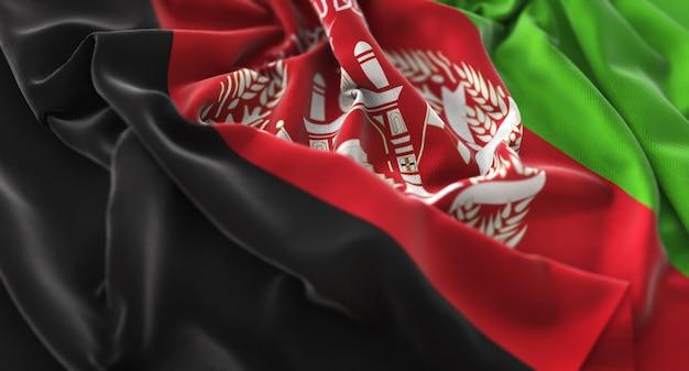 Flaga afganistanu ruffled pięknie macha makro close-up shot
