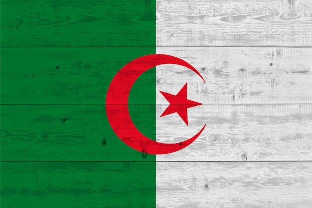 Flaga algierii malowane na starej desce