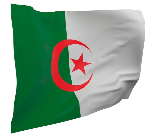 Flaga algierii na białym tle. macha sztandarem. flaga narodowa algierii